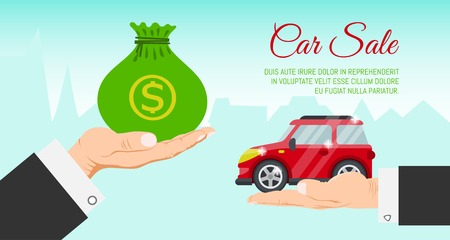 Illustration pour Buying or renting new or used red car banner vector illustration. Car in buyer hand. Car sale. Modern flat style selling transport flyer. Buying auto rental dealer hand. Travel vehicle service concept. - image libre de droit