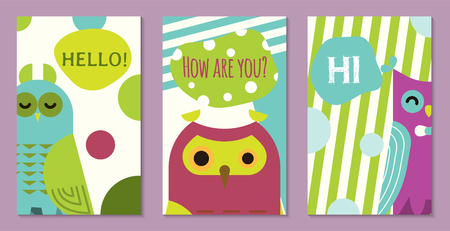 Illustration pour Owl set of banners vector illustration. Hello, hi, how are you. Cute cartoon wise birds with wings of different color for greeting cards and celebration party. Owls with closed eyes. Meeting new. - image libre de droit