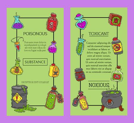 Ilustración de Toxic industry concept banners vector illustration. Different barrel for liquids oil, biofuel, explosive, chemical, radioactive,flammable and poisonous substances and liquids. - Imagen libre de derechos