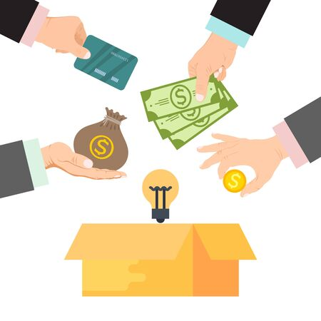 Illustration for Crowdfunding vector illustration. Cardboard box surrounded by hands with money, bag of money and credit cards. Funding project by donated money - Royalty Free Image