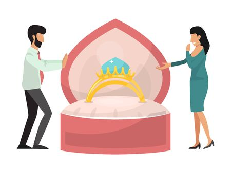 Illustration pour Man holding box with ring making propose to his girlfriend - image libre de droit