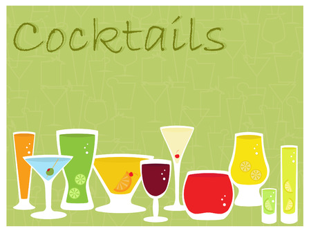 an illustration of a collection of cocktail drinks