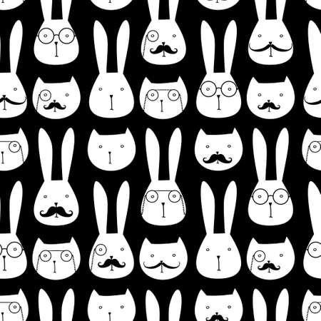 Illustration pour seamless pattern with cute rabbits and cats - image libre de droit