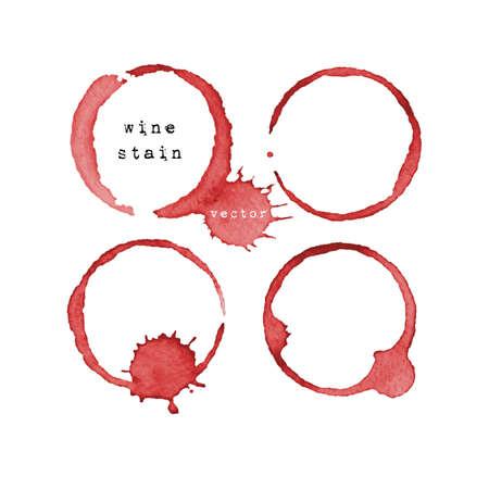 Ilustración de Wine stain. Wine glass mark isolated on white background. Vector illustration. - Imagen libre de derechos