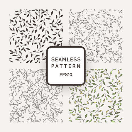 Illustration pour A set of four vector patterns from leaves and twigs - image libre de droit