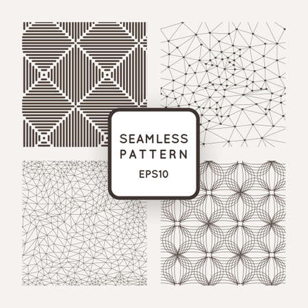 A set of four vector seamless patterns. Grid. Polygons. Squares. Waves.