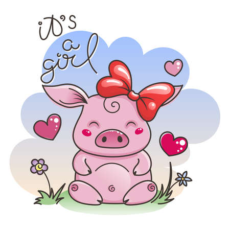 Illustrazione per It is a girl. Cute cartoon pig in love. Symbol of New 2019 Year. Chinese horoscope - Immagini Royalty Free