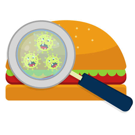 Illustrazione per Magnifying glass showing germs on hamburguer. White background. - Immagini Royalty Free