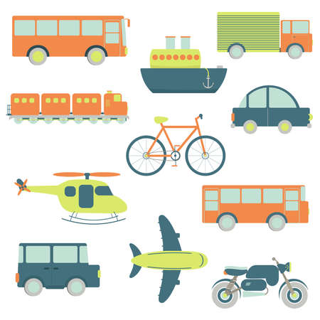 Ilustración de Transportation facilities in a white background - Imagen libre de derechos