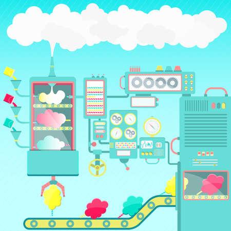 Ilustración de Cotton candy factory. Creative and imaginative cotton candy factory made of clouds. Cute machines. - Imagen libre de derechos