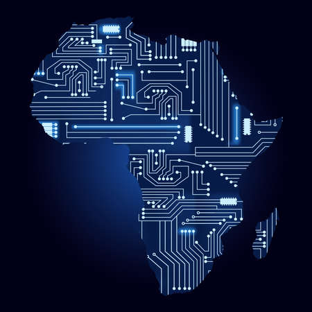 Illustration for Map of Africa with electronic circuit. Contour map of Africa with a technological electronics circuit. - Royalty Free Image