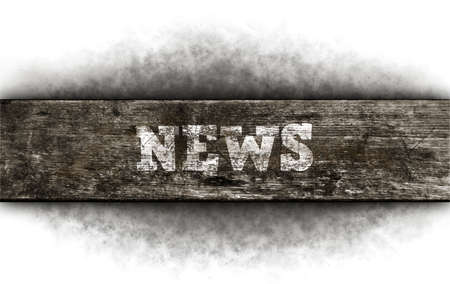 Photo for the word news on old wooden plank - Royalty Free Image