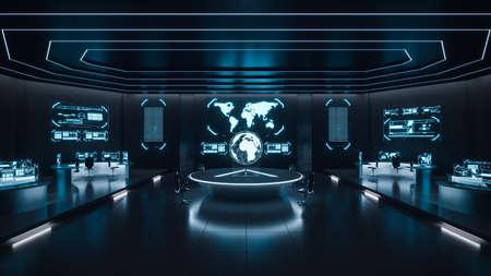 Foto de Command center interior, cybersecurity, room, blue - Imagen libre de derechos