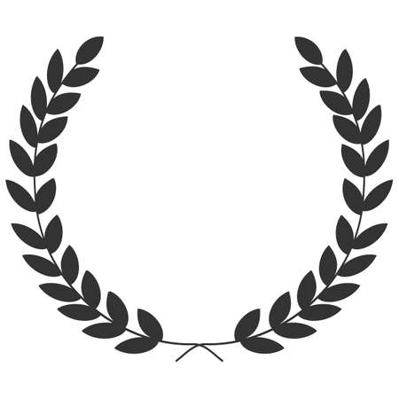 Illustration for A laurel wreath - symbol of victory and achievement. Design element for construction of medals, awards, coat of arms or anniversary logo. Gray silhouette on white background. Laurel wreath icon - Royalty Free Image
