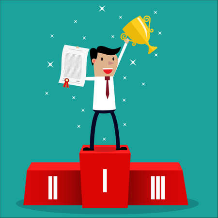 Illustration for Businessman winner standing in first place on a podium holding up an award certificate and trophy as he celebrates his victory vector illustration - Royalty Free Image