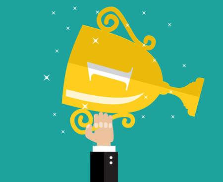 Illustration for Hand holding winner's trophy award. flat  vector Illustration - Royalty Free Image