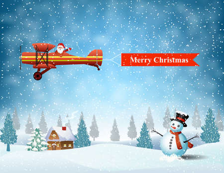Ilustración de light plane with Santa claus  fly over the forest, house, snowman and pulled merry christmas banner .  Christmas card,invitation,background,design template. - Imagen libre de derechos