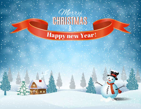 Illustration for New year and Christmas winter landscape background with snowman. Vector illustration - Royalty Free Image