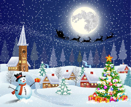 Illustration pour Christmas landscape with christmas tree and snowman with gifbox.  background with moon and the silhouette of Santa Claus flying on a sleigh. concept for greeting or postal card, vector illustration - image libre de droit