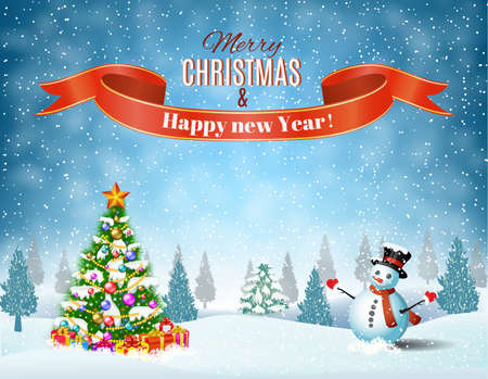 Illustration pour New year and Christmas winter landscape background with snowman and christmas tree, giftbox. Vector illustration - image libre de droit