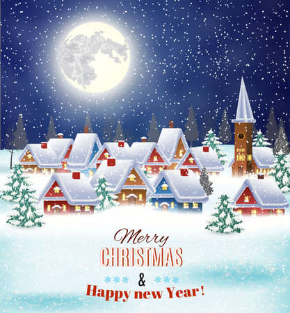 Ilustración de New year and Christmas winter village  night landscape background. Vector illustration. concept for greeting or postal card - Imagen libre de derechos