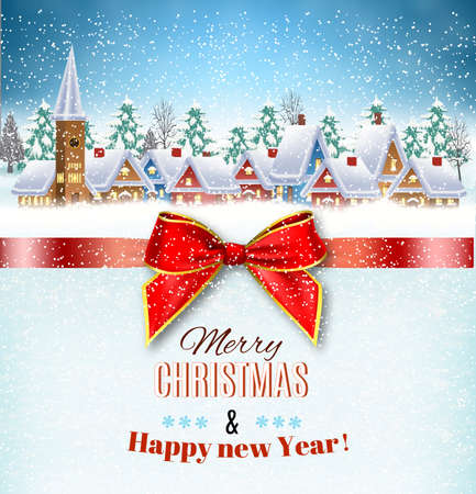 Illustration pour New year and Christmas winter village  landscape background and a red gift ribbon. Vector illustration. concept for greeting or postal card - image libre de droit