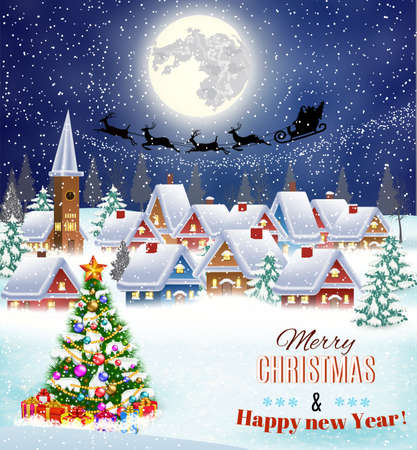 Illustration pour New year and Christmas winter landscape with christmas tree .  background with moon and the silhouette of Santa Claus flying on a sleigh. concept for greeting or postal card, vector illustration - image libre de droit