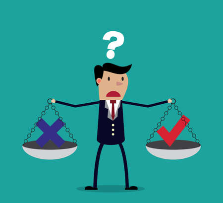 Illustration pour Cartoon businessman balancing cross and tick symbol on two weighing trays on both arms. Creative vector illustration for ethical dilemma concept isolated on green background. - image libre de droit