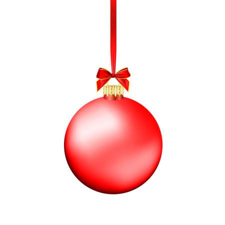 Ilustración de Christmas ball with red ribbon. Vector Illustration. - Imagen libre de derechos
