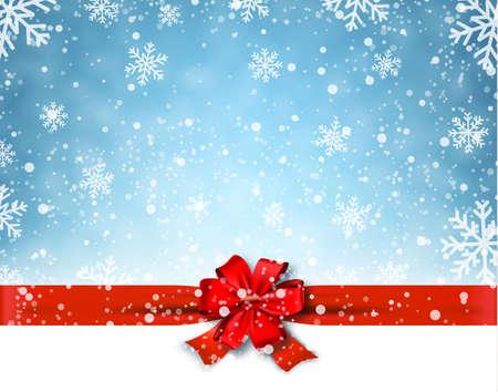 Ilustración de Winter background with red bow. Vector Illustration - Imagen libre de derechos