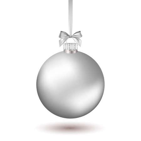 Ilustración de Christmas ball with silver ribbon. Vector Illustration. - Imagen libre de derechos
