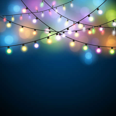 Illustration pour Glowing Lights - Colorful Fairy Lights Background. Christmas Lights Background. Vector illustration - image libre de droit