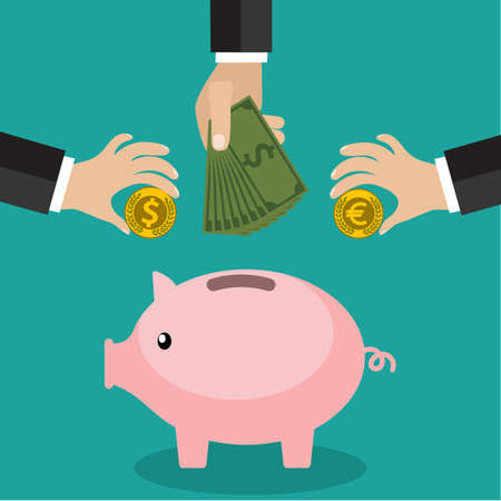 Illustration pour Many hands putting coin and money into a piggy bank. Saving and investing money concept.  vector illustration in flat design. infographics web design elements - image libre de droit