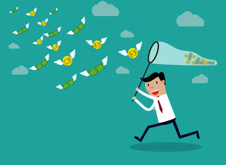 Illustration pour Businessman running with butterfly net chasing money which is flying in the air. Finance business concept. vector illustration in flat design on green backgound - image libre de droit