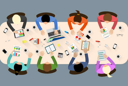 Illustration pour Group of people working, planning, brainstorming idea of company strategy. Office table top view.  Teamwork creative office workspace. Vector flat design for business web infographic concept - image libre de droit