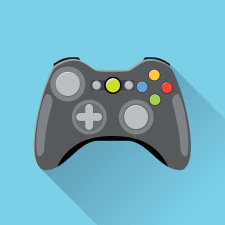 Illustration pour Video game Controller Icon. wireless grey gamepad. vector illustration in flat design with long shadow on blue background - image libre de droit