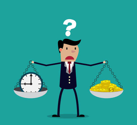Illustration pour business woman making decision between time or money, time is money concept.  Balancing Time and Money. vector illustration - image libre de droit