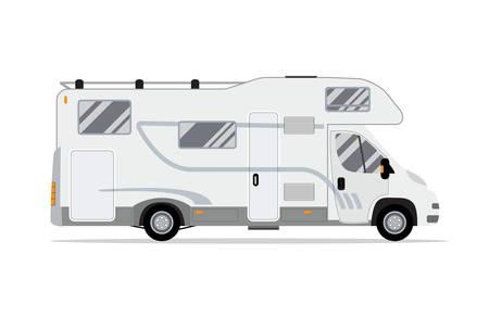 Illustration pour Rv mobile home truck. Traveler truck flat vector icon. Recreational motor home vehicle. Camping trailer family caravan. Motorhome trailer car. vector illustration in flat design - image libre de droit