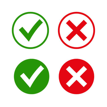 Illustration pour Tick and cross signs. Green checkmark OK and red X icons, isolated on white background. Simple marks graphic design. symbols YES and NO button for vote, decision, web. Vector illustration - image libre de droit
