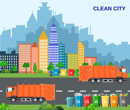 Ilustración de City waste recycling concept with garbage truck. concept waste disposal and types sorting management. concept clean city. Vector illustration in flat design - Imagen libre de derechos