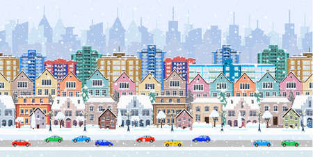 Illustration pour winter city street with trees and car. seamless border panorama with a winter cityscape. vector illustration - image libre de droit