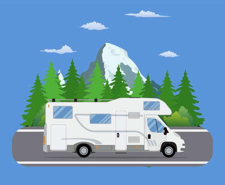 Illustration pour Road travel trailer driving on forest area road. - image libre de droit