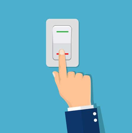Foto für Man hand push button switch. - Lizenzfreies Bild