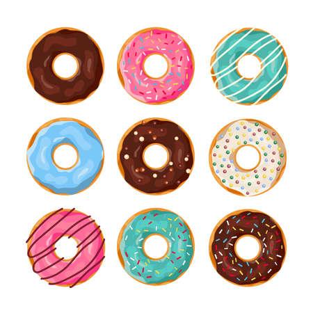 Illustration pour Set of cartoon donuts - image libre de droit