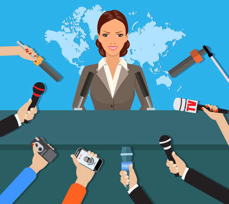 Illustration pour Press conference, world live tv news, interview. hands of journalists with microphones. vector illustration in flat style on blue background with world map - image libre de droit