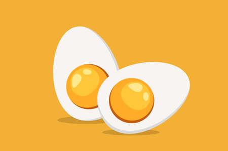 Ilustración de Hard Boiled Sliced Egg with the yellow yolk and the white albumen. Vector illustration in flat style - Imagen libre de derechos