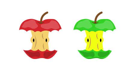 Ilustración de Apple stub waste or food leftovers garbage icon organic domestic litter or environment pollution element. Vector illustration in flat style - Imagen libre de derechos