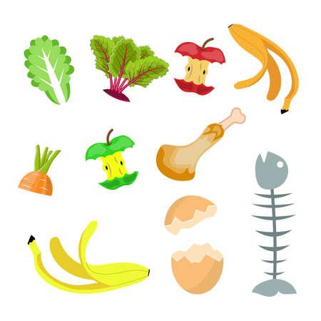 Ilustración de Organic waste, food compost collection Banana, egg , fish bone and apple stump. Vector illustration in flat style - Imagen libre de derechos