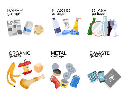 Ilustración de Garbage sorting food waste, glass, metal and paper, plastic electronic, organic. Vector illustration in flat style - Imagen libre de derechos