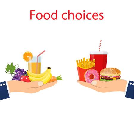 Illustration pour Food choice. Healthy and junk eating. Vector illustration. - image libre de droit